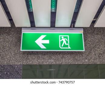 Exit way sign board at subway station