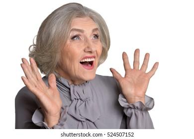 Exited senior woman