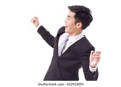 exited, successful, happy businessman looking up