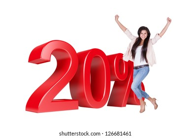 Exited Woman Jumping In Front Of 20% Sale Discount. Isolated On White Background