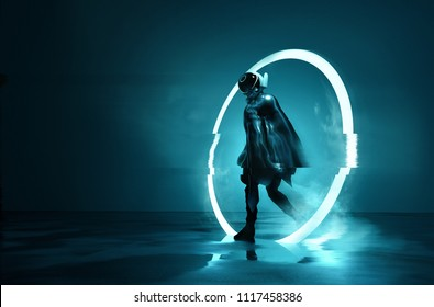 Exiting The Void. A futuristic Space astronaut exiting a glowing loop through time. Conceptual 3D Illustration.