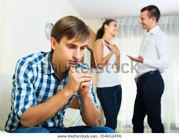 Ex-lover watching girlfriend leaving him for another man