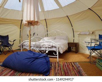Exmoor, UK - August 1 2018: Glamping at Wimbleball lake on Exmoor