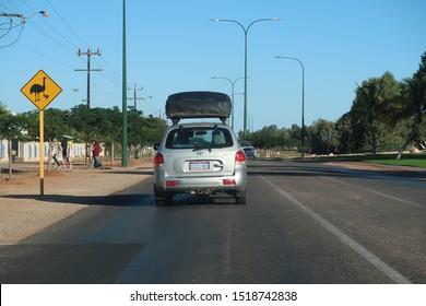 Exmouth, Australia - 07 15 2019: Hyundai Santa Fee car driving on the remote Highways of Western Australia