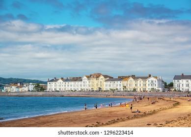 Exmouth beach in summer, Devon, UK
