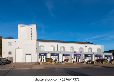 EXMOUTH, DEVON, UK - 17JAN2019: Exmouth Pavilion is located on the seafront in this popular seaside resort.