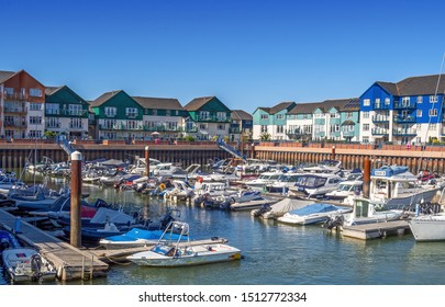 EXMOUTH MARINA, DEVON, UK - SEPTEMBER 20, 2019: The modern and fairly new marina at Exmouth, with boats.