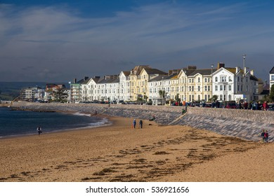 EXMOUTH, UK, 21 October 2016: beautiful white house on the first coast line in the town of Exmouth. Devon. England