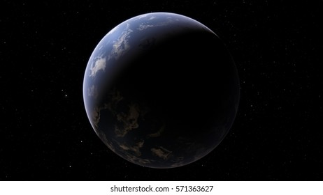 Exoplanet 3D illustration Ocean planet Second Earth (Elements of this image furnished by NASA)