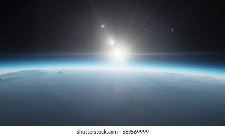 Exoplanet 3D illustration sunset (Elements of this image furnished by NASA)