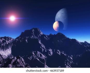 Exoplanet Exploration - Fantasy and Surreal Landscape. 3D Rendered.