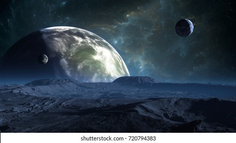 Exoplanet or Extrasolar planet with atmosphere and moon. 3D illustration