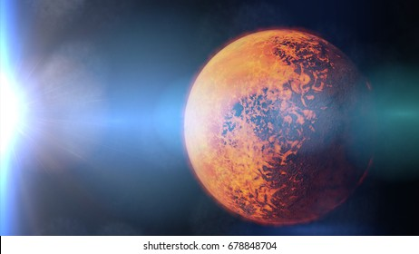 exoplanet TRAPPIST-1b, tidally locked alien planet lit by a nearby dwarf star (3d illustration)