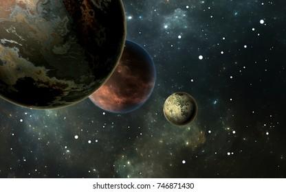 Exoplanets or Extrasolar planets with stars on background nebula, 3D illustration