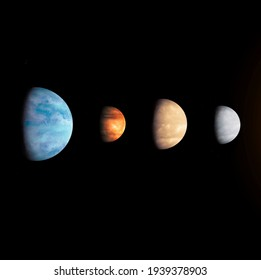 exoplanets in space, planets from alien star system.
