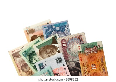 Exotic Asian and African banknotes isolated on white