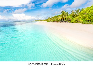 Exotic beach background. Summer travel and tourism, vacation destination concept. Maldives nature landscape view, inspirational tropical beach