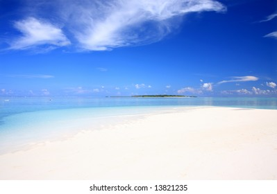 Exotic beach under a blue sky