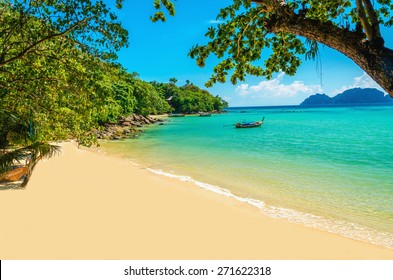 Exotic beautiful beach with white sand and blue ocean, The Phi Phi Islands, Thailand