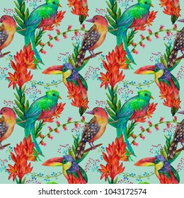 Exotic birds and flowers watercolor seamless pattern on pale green. Watercolor drawing. Exotic birds and plants. For surfacedesign, fabric, textile, card, background, wallpaper
