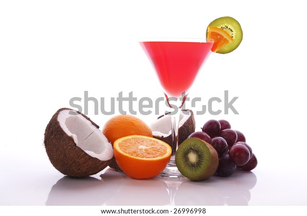 Exotic drink and many fruits