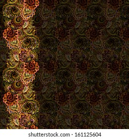 Exotic fantasy pattern with golden ornament