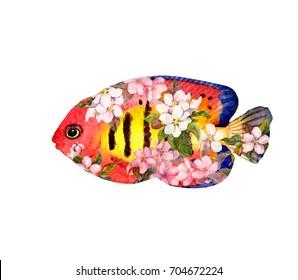 Exotic fish (tropical fish) in flowers. Watercolor