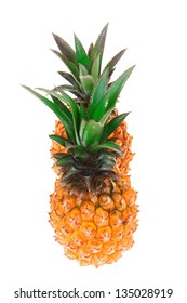 exotic fruit diet - pair of whole fresh raw pineapple isolated over white background