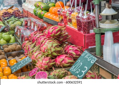 Exotic fruit in Israeli market, including the purple dragon fruit
