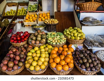 Exotic fruits in the market of Funchal, Madeira, Portugal