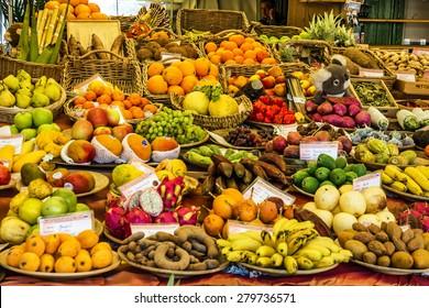 Exotic fruits on delicatessen market