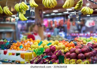 exotic fruits on european market counter