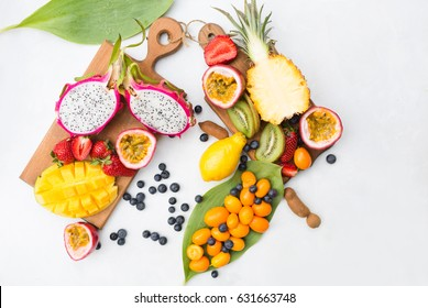 Exotic fruits on a gray  background