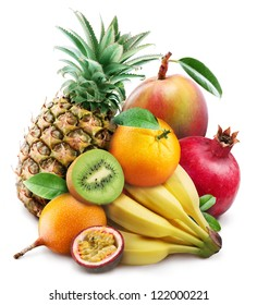 Exotic fruits on a white background.