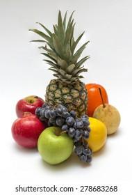 Exotic fruits on white background