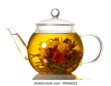 WILD FLOWERS ON LIME GREEN ~ TEAPOT