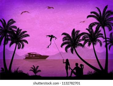 Exotic Landscape, People with Kites on Tropical Beach with Palm Trees Silhouettes, Ship In Ocean, Seagulls and Mountain Silhouettes.