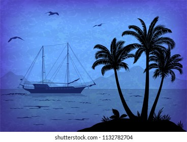 Exotic Landscape, Tropical Palm Trees, Sea with Ship, Seagulls in the Sky, Black Silhouettes on Blue.