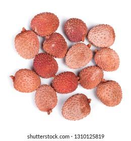 Exotic lychee fruit isolated on white background