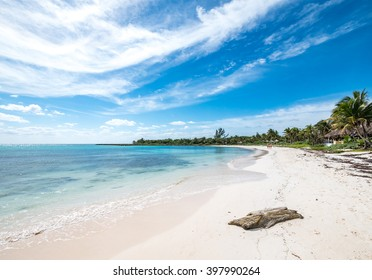 exotic mexican white coral sand beach landscape