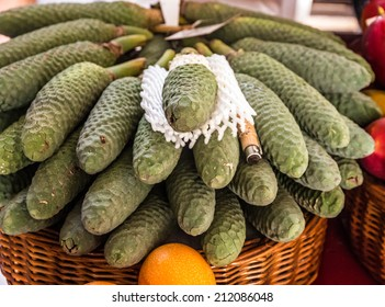 Exotic monstera fruits in the market of Funchal, Madeira, Portugal