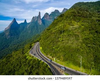 Exotic Mountains. Wonderful Mountains. Mountain Finger of God, the city of Teresopolis, State of Rio de Janeiro, Brazil, South America.