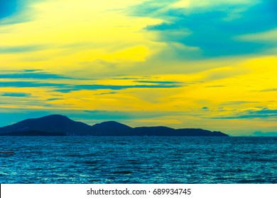 Exotic nature. Beautiful seaside view Landscape of island and Ocean  with dramatic  sunrise sky. Majestic and picturesque scene. Beauty world.