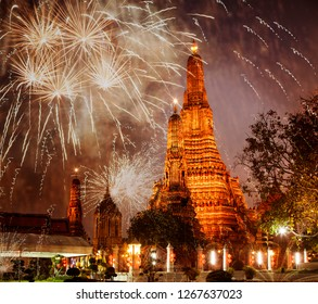 exotic new year - Bangkok new year countdown fireworks at Wat Arun Temple, Bangkok, Thailand