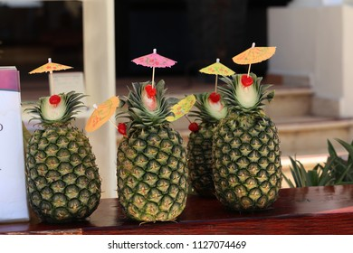 Exotic pineapple cocktails / Natural pineapple drinks with rum or Pina colada
