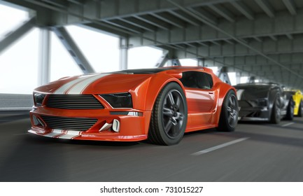 Exotic race car high speed showdown over a city bridge.Generic vehicles. 3d rendering.