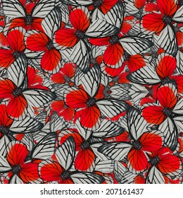 Exotic of Red Background Pattern made of Red-spot Sawtooth Butterflies