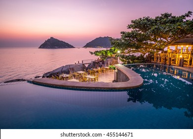 Exotic Romantic Sunset Pool Villa Resort Panoramic View Collide with Summer Pacific Tropical Ocean Koh Tao and Nang Yuan Thailand