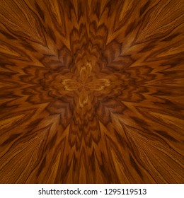 exotic rosewood veneer board, bright brown wood with abstract cross centered pattern