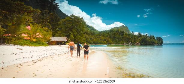 Exotic Saleman Beach Beautiful Maluku Landscape